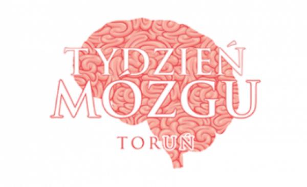Rysunek mózgu oraz napis Tydzień Mózgu Toruń