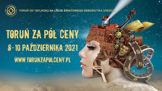 Plakat informujący o akcji Toruń za pół ceny
