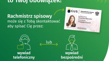 Plakat informujący o możliwości kontaktu z rachmistrzem w ramach Powszechnego Spisu Rolnego