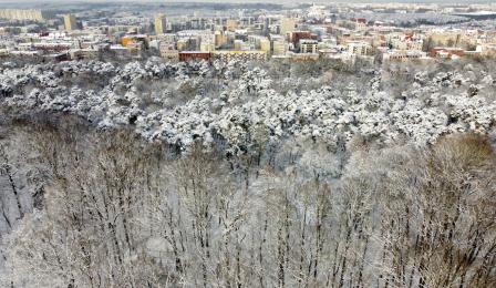 Widok z drona na ośnieżony Park Miejski i panoramę Torunia